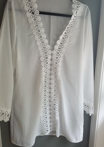 Sheer, lacy swim coverup